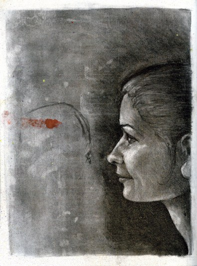 (Sketchbook 2005-7) - Meghan Sparkles - Charcoal and Spray Sparkles